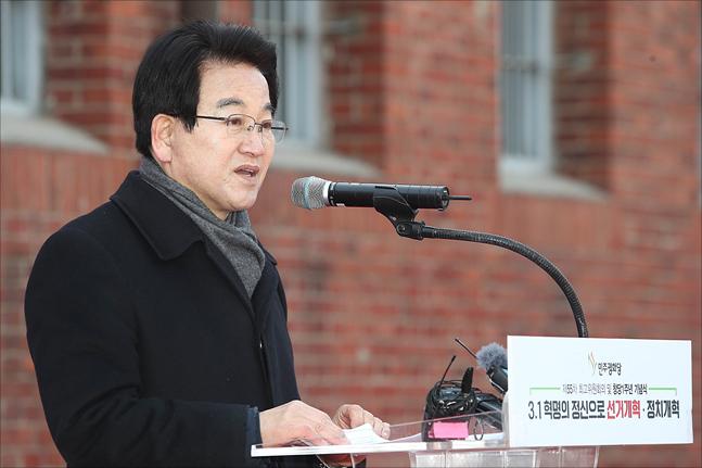 정동영 민주평화당 대표가 8일 오전 서울 서대문구 서대문형무소 역사관에서 열린 민주펑화당 창당 1주년 기념식에서 기념사를 하고 있다.(자료사진)ⓒ데일리안 홍금표 기자