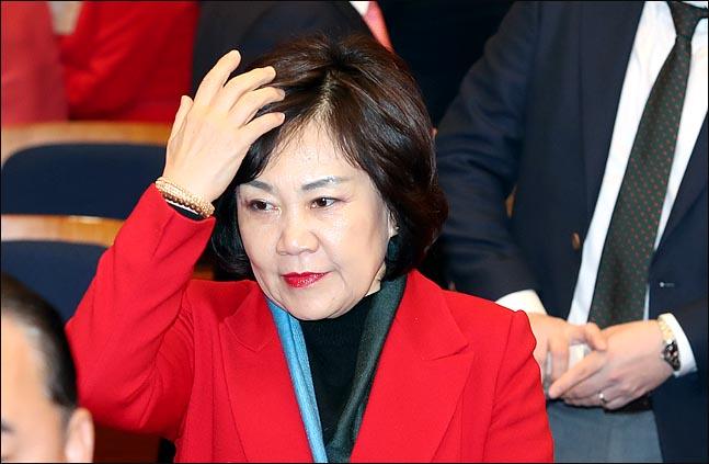 5.18 공청회에서 5.18 민주화운동 폄훼 발언 파문을 초래한  김순례 자유한국당 의원이 12일 오후 국회 헌정기념관에서 열린