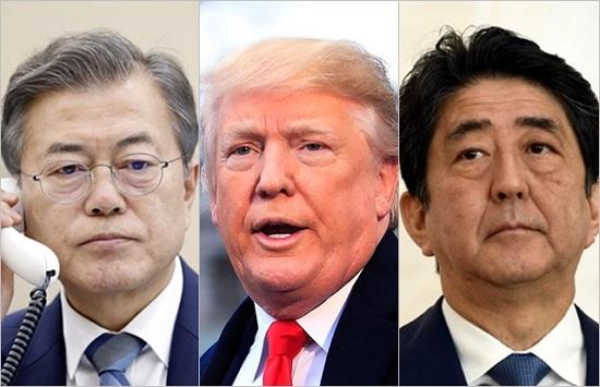 (왼쪽부터)문재인 대통령, 도널드 트럼프 미국 대통령, 아베 신조 일본 총리. ⓒ데일리안
