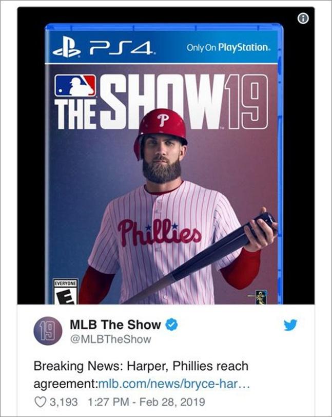 하퍼는 2012년 워싱턴에서 데뷔(신인상)해 지난해까지 7년 통산 타율 0.279 184홈런 521타점을 기록한 메이저리그를 대표하는 타자다. ⓒ MLB더쇼 트위터