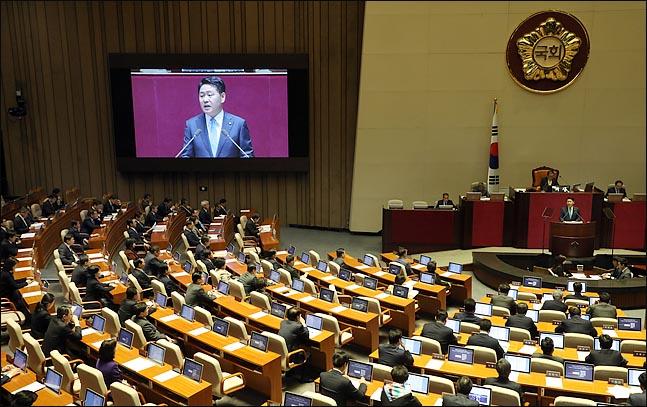김관영 바른미래당 원내대표가 13일 오전 열린 국회 본회의에서 교섭단체 대표연설을 하고 있다. ⓒ데일리안 박항구 기자