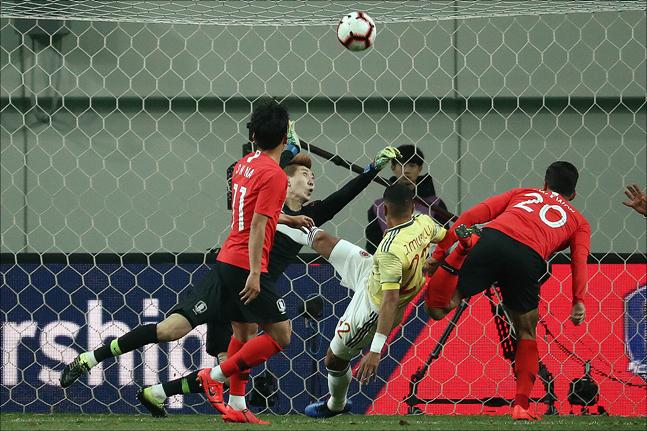 [대한민국 콜롬비아]조현우는 A매치 8경기 만에 선발 출전했다. ⓒ 데일리안 홍금표 기자