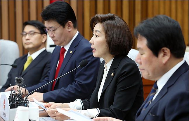나경원 자유한국당 원내대표가 16일 오전 국회에서 열린 원내대책회의에서 모두발언을 하고 있다.  ⓒ데일리안 박항구 기자