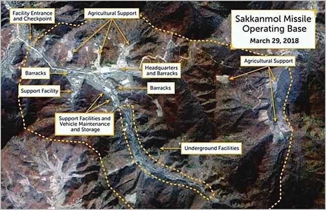 CSIS가 지난해 11월 발표한 북한의 황해북도 황주군 삭간몰 미공개 미사일 기지 인공위성 사진 ⓒCSIS