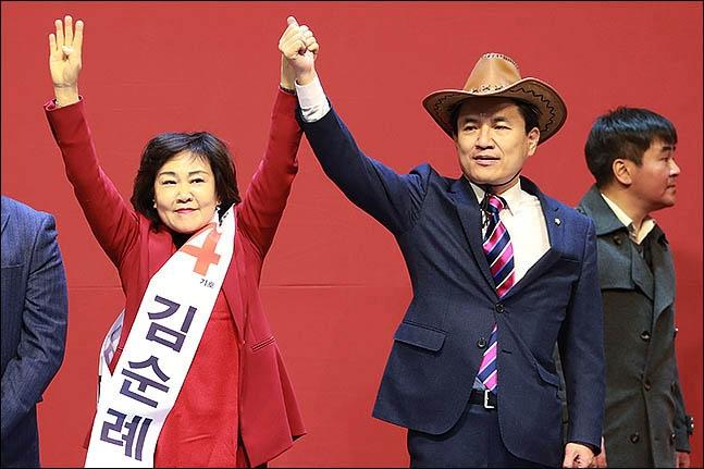 자유한국당 김순례 최고위원, 김진태 의원ⓒ데일리안 류영주 기자