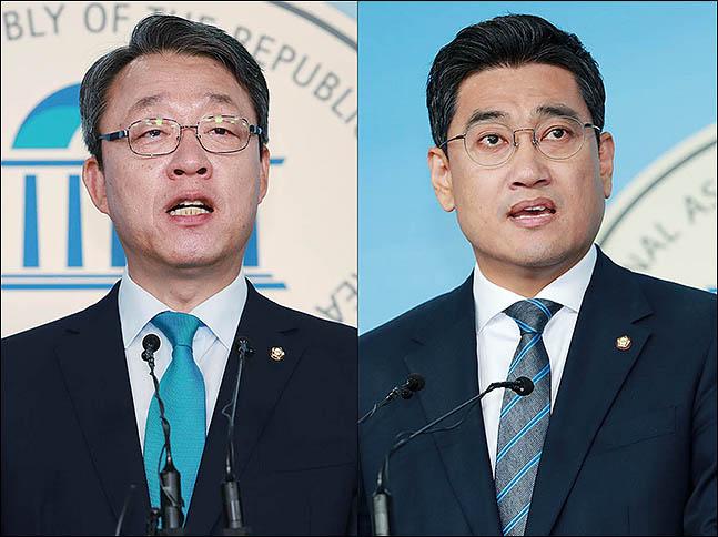 김성식 바른미래당 의원(왼쪽)과 오신환 의원(오른쪽)이 13일 오전 서울 여의도 국회 정론관에서 원내대표 경선 출마 선언을 하고 있다. (자료사진)ⓒ데일리안 류영주 기자