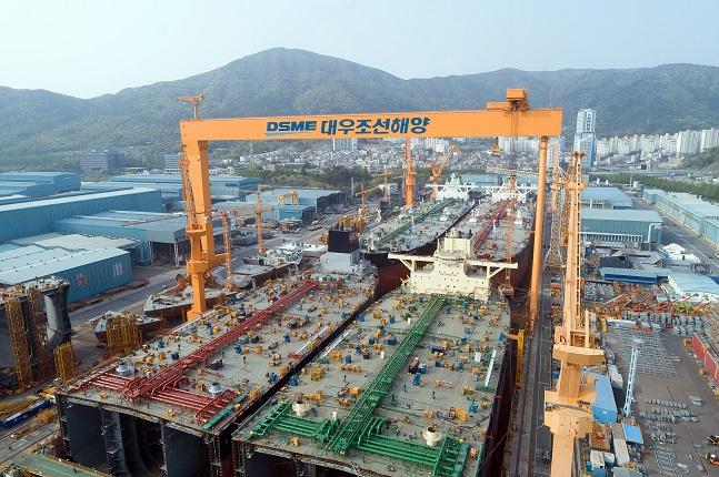대우조선해양 1도크에서 VLCC 4척이 동시에 건조되고 있다.ⓒ대우조선해양