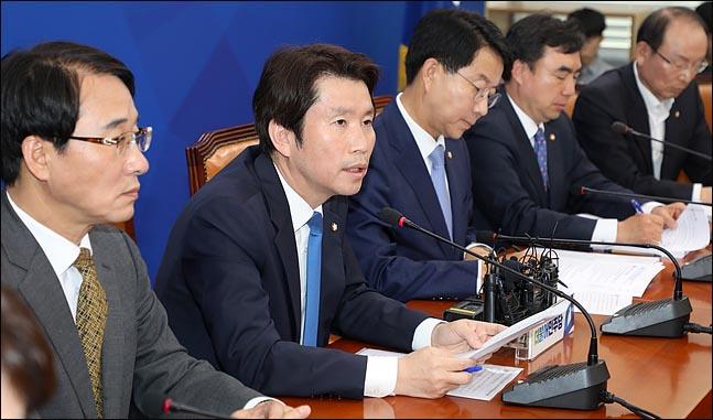 이인영 더불어민주당 원내대표가 16일 오전 국회에서 열린 정책조정회의에서 발언하고 있다. ⓒ데일리안 박항구 기자