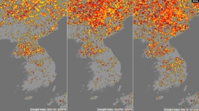 북한이 겪고 있는 극심한 가뭄이 미국 국립해양대기국(NOAA)의 기상위성을 통해서도 확인됐다고 미국의소리(VOA) 방송이 18일 전했다. ⓒVOA