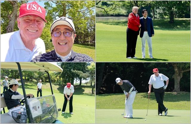 도널드 트럼프 미국 대통령과 아베 신조 일본 총리가 26일 일본 지바현 모바라시에 위치한 골프장에서 골프를 치고 있다. ⓒ도널드 트럼프 트위터