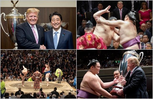 도널드 트럼프 미국 대통령과 아베 신조 일본 총리가 지난 26일 일본 도쿄 료고쿠 국기관에서 열린 스모 경기에 참관하고 있다.  ⓒ도널드 트럼프 트위터