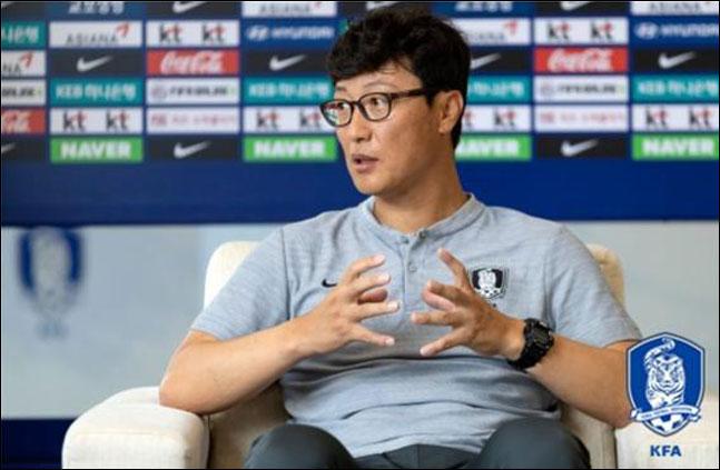 한국 18세 이하(U-18) 축구 대표팀이 물의를 일으키자 사과에 나선 김정수 감독. ⓒ 대한축구협회