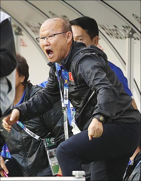 박항서 감독이 베트남의 승리에 환호하고 있다. ⓒ 연합뉴스