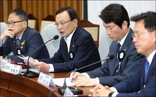 이해찬 더불어민주당 대표가 12일 오전 국회에서 열린 확대간부회의에서 모두발언을 하고 있다. ⓒ데일리안 박항구 기자