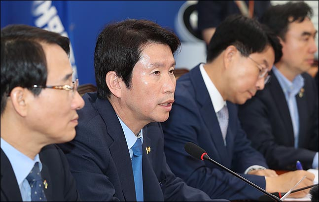 이인영 더불어민주당 원내대표가 13일 오전 국회에서 열린 정책조정회의에서 모두발언을 하고 있다. ⓒ데일리안 박항구 기자