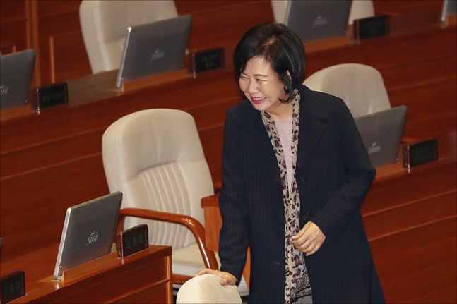 무소속 손혜원 의원이 5일 오전 서울 여의도 국회 본청에 열린 국회 본회의에 참석하고 있다. ⓒ데일리안 홍금표 기자
