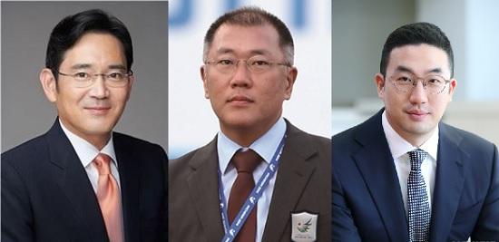 이재용 삼성전자 부회장(왼쪽부터), 정의선 현대자동차 부회장, 구광모 LG그룹 회장.ⓒ데일리안DB