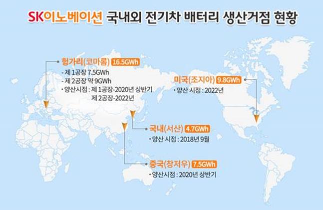 SK이노베이션 국내외 전기차 배터리 생산거점 현황. ⓒSK이노베이션