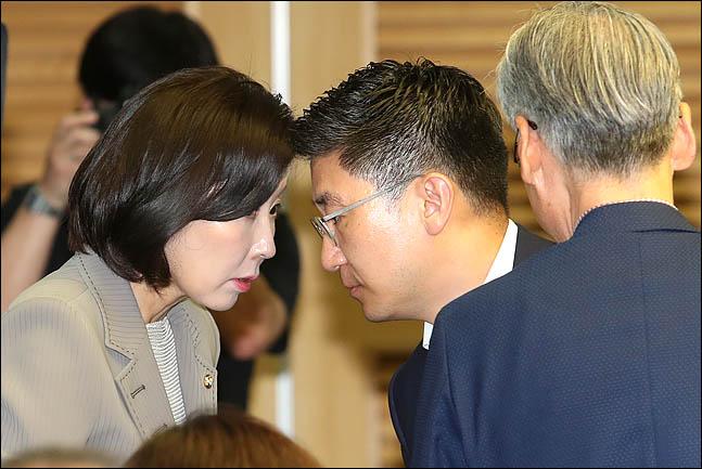 나경원 자유한국당 원내대표와 김세연 여의도연구원장이 지난달 10일 의원회관에서 열린 토론회에 앞서 대화를 나누고 있다. ⓒ데일리안 박항구 기자