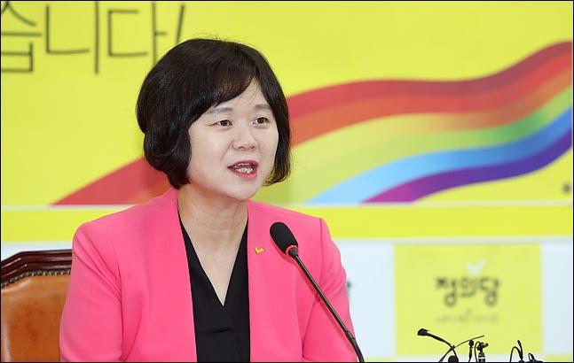 정의당 당대표 퇴임을 앞둔 이정미 대표가 11일 국회에서 퇴임 기자회견을 하고 있다. ⓒ데일리안 박항구 기자