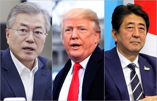 (왼쪽부터) 문재인 대통령, 도널드 트럼프 미국 대통령, 아베 신조 일본 총리 ⓒ청와대, BBC