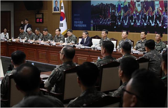 정경두 국방부 장관이 지난달 서울 용산구 국방부에서 열린 전군주요지휘관회의에서 모두발언을 하고 있다. ⓒ데일리안