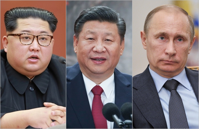 (왼쪽부터) 김정은 북한 국무위원장, 시진핑 중국 국가주석, 블라디미르 푸틴 러시아 대통령 ⓒ조선중앙통신, 신화통신