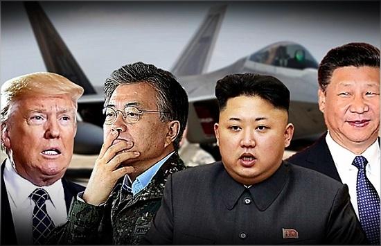 (왼쪽부터) 도널드 트럼프 미국 대통령, 문재인 대통령, 김정은 북한 국무위원장, 시진핑 중국 국가주석 ⓒ데일리안