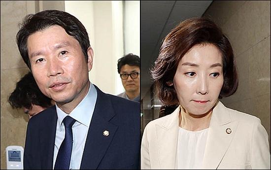 데일리안이 여론조사 전문기관 알앤써치에 의뢰해 실시한 7월 다섯째주 정례조사에 따르면, 더불어민주당과 자유한국당의 지지율은 각각 35.1%, 24.9%를 기록했다. 왼쪽이 이인영 민주당 원내대표, 오른쪽이 나경원 한국당 원내대표. ⓒ데일리안 박항구 기자