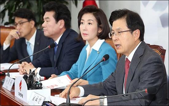황교안 자유한국당 대표가 국회에서 열린 북핵외교안보특위 회의에서 모두발언을 하고 있다(자료사진). ⓒ데일리안 박항구 기자
