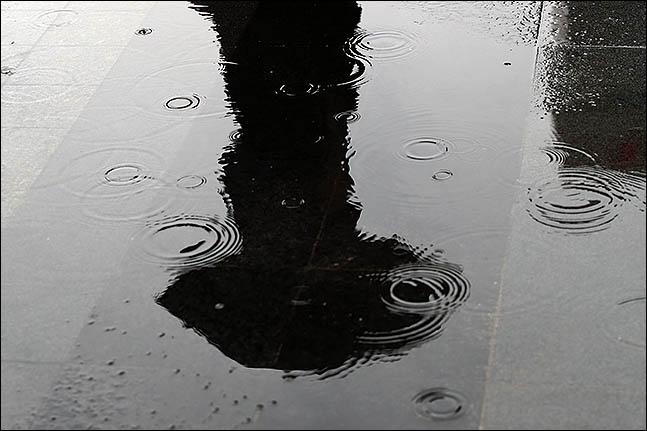 수도권 지역에 아침부터 많은 비가 내린 31일 오후 서울 종로구에 우산을 쓴 시민이 지나가는 모습이 물웅덩이에 비치고 있다. ⓒ데일리안 류영주 기자