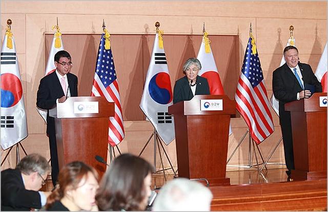 지난해 6월 서울 종로구 외교부 청사에서 한미일 외교장관 공동기자회견이 진행되고 있다. ⓒ데일리안 류영주 기자