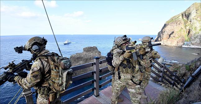 동해영토수호훈련이 전격 개시된 25일 해군 특전요원(UDT)들이 해상기동헬기(UH-60)를 통해 독도에 전개한 후 사주경계를 하고 있다. ⓒ국방부