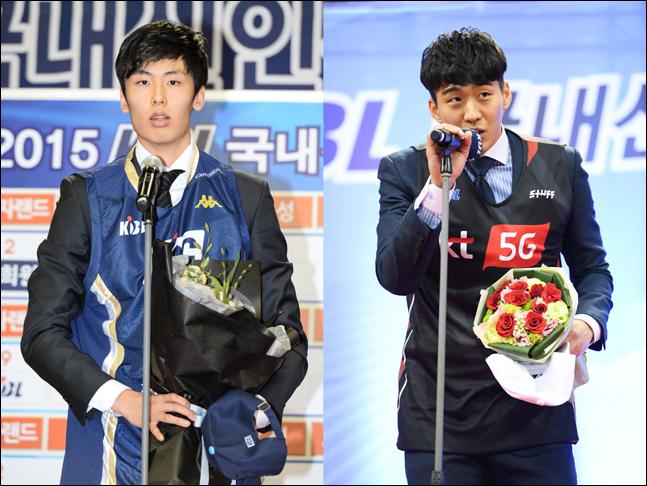 장신 농구선수 발굴 사업 출신으로 첫 번째로 프로 무대에 진출한 송교창(전주 KCC)과 양홍석(부산 KT). ⓒ KBL