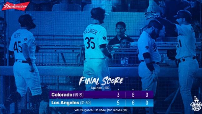 LA 다저스가 4일 콜로라도전 5-3 역전승을 거두며 3연승을 질주했다. ⓒ LA 다저스