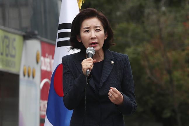 나경원 자유한국당 원내대표가 10일 오후 서울 서대문구 신촌 유플렉스 앞에서 열린