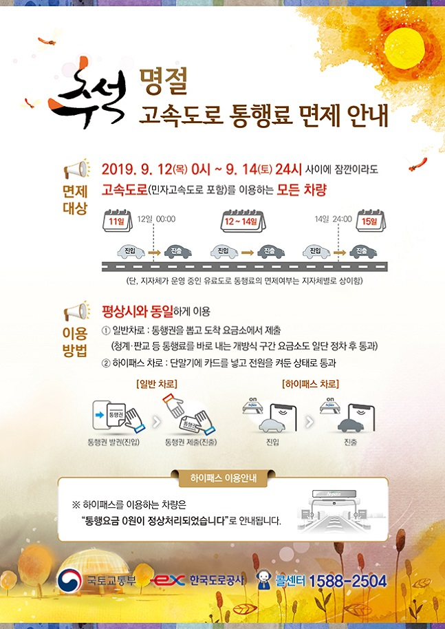 추석 명절 고속도로 통행료 면제 안내.한국도로공사 홈페이지 캡처