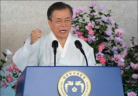 문재인 대통령이 15일 오전 충남 천안 독립기념관에서 열린