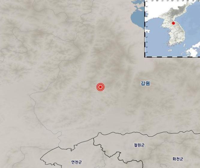 21일 북한 강원 평강 북북서쪽서 일어난 3.5 지진의 발생 위치ⓒ기상청