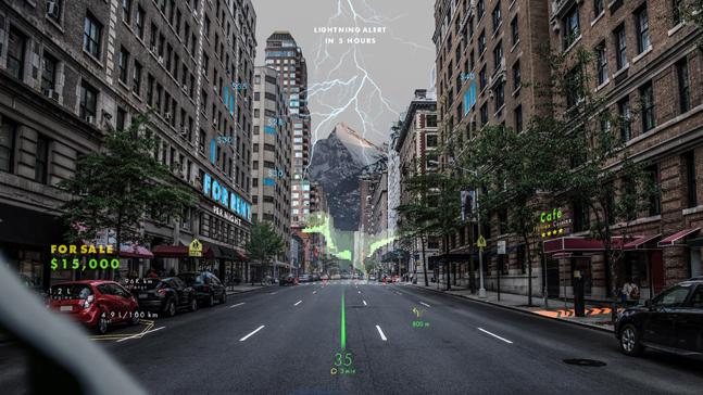 현대차그룹이 투자한 스위스 홀로그램 전문 기업 웨이레이의 홀로그램 증강현실 내비게이션 이미지.ⓒ현대자동차그룹