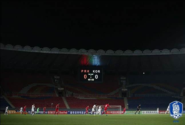 15일 오후 북한 평양 김일성 경기장에서 월드컵 아시아지역 2차 예선 H조 3차전 대한민국과 북한 경기가 열리고 있다. ⓒ대한축구협회
