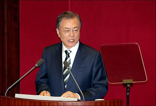 문재인 대통령이 22일 열린 국회 본회의에서 2020년도 예산안 시정연설을 하고 있다.ⓒ데일리안 박항구 기자