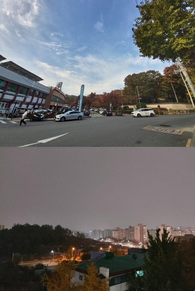 삼성전자 '갤럭시A90 5G'으로 촬영한 초광각 이미지(위쪽)와 야간모드로 촬영한 이미지.ⓒ데일리안 김은경 기자