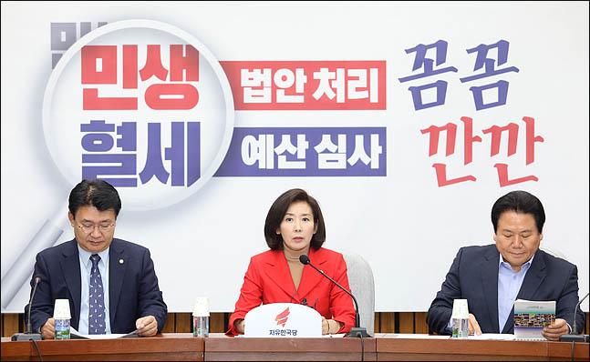 나경원 자유한국당 원내대표가 15일 오전 국회에서 열린 원내대책회의에서 모두발언을 하고 있다. ⓒ데일리안 박항구 기자