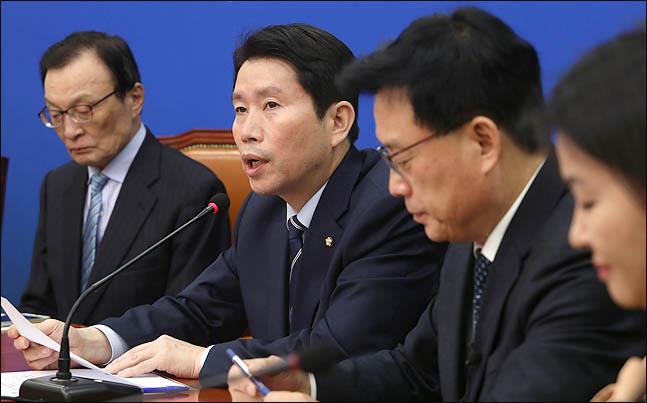 이인영 더불어민주당 원내대표가 18일 오전 국회에서 열린 최고위원회의에서 발언을 하고 있다. ⓒ데일리안 박항구 기자