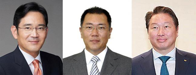 왼쪽부터 이재용 삼성전자 부회장, 정의선 현대자동차 부회장, 최태원 SK그룹 회장.ⓒ데일리안DB