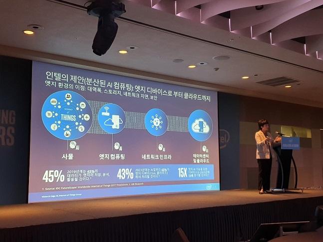 권명숙 인텔코리아 대표가 4일 서울 강남구 삼성동 인터컨티넨탈 서울 코엑스에서 열린 '코리아 엣지 AI' 포럼에서 인텔의 엣지 인공지능(AI) 전략을 소개하고 있다.ⓒ데일리안 이도영 기자