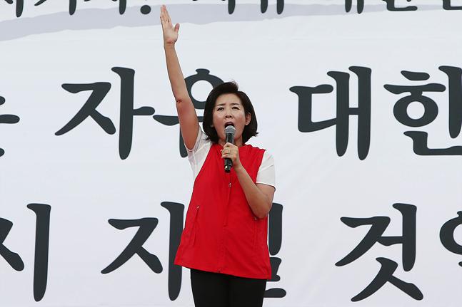 나경원 자유한국당 원내대표가 지난 10·3 개천절 집회에서 연설을 하고 있다. ⓒ데일리안 홍금표 기자