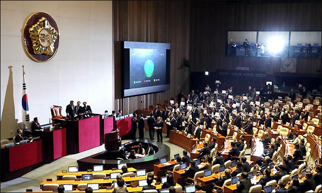 10일 오후 열린 국회 본회의에서 자유한국당의 반발속에