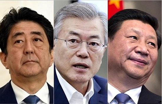 (왼쪽부터) 아베 신조 일본총리, 문재인 대통령, 시진핑 중국 국가주석. ⓒ데일리안, 청와대